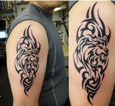 Tribal Tattoos Designs on Custom Tribal Lion Tattoo Design By Captain Bret