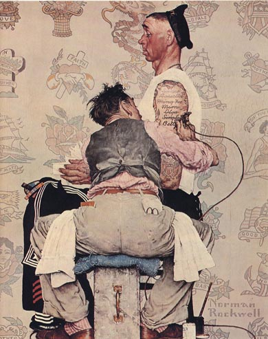 Original Norman Rockwell Painting of an old sailor getting